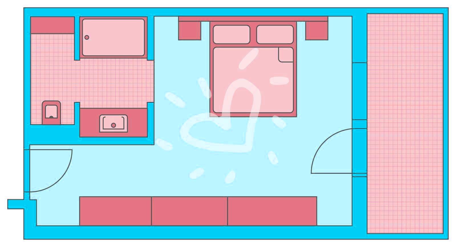 Doppelzimmer mit Zustellbett und Grimmingblick