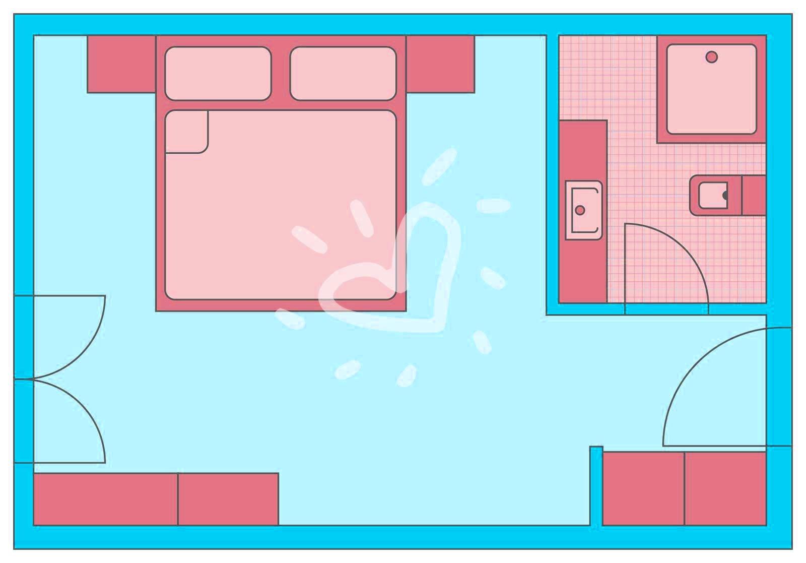 Doppelzimmer mit Zustellbett und Meerblick